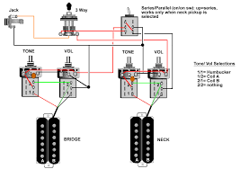 guitar wiring, tips, tricks, schematics and links Dimarzio Single Coil Pick Up Diagrams coil select series parallel uses 4 push pull pots and one mini toggle, for lp type guitars (requires adding mini toggle) Single Coil Pickups