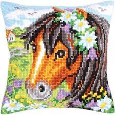 "<b>Daisy</b> Chain Stamped Cross Stitch Pillow Cushion <b>Kit</b> 16"" x 16 ..."