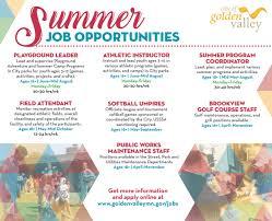 city of golden valley mn summer job opportunities p rcatalog ad summer job opportunities p rcatalog ad