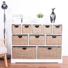 Chest of Drawers Basket Storage Unit Cabinet Wood <b>Seagrass</b> ...