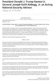 phylis rockingrepub twitter general flynn s resignation kellogg d national security advisor potuspic com emtss3enhy
