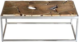 Giner y Colomer <b>Coffee table</b> with acacia top and steel feet ...