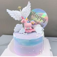 <b>Cakesmile Pink</b> Unicorn Flag Party Cake Topper Wedding Cupcake ...