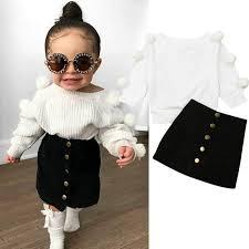 <b>Fashion 2PCS</b> Autumn Baby <b>Girls</b> Long Sleeve Top & Mini Skirt Set ...