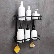 GERUIKE <b>Bathroom Shelf</b> 2-Tier Square Wall Mounted <b>Space</b>