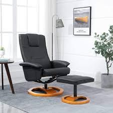 vidaXL Swivel <b>TV Armchair with Foot</b> Stool Black Faux Leather