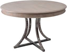 round dining table base: an industrial chic round dining table with wooden table top and metal base what s particularly nice about the marseille round dining table and