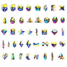 <b>100pcs AB</b> Color Nail Rhinestone Marquise Moon <b>Star</b> Flower ...