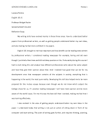 reflective essay about english