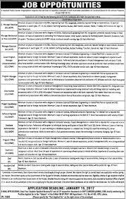 various jobs in public sector organization lahore application various jobs in public sector organization lahore application deadline 15 jan 2017