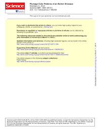 (PDF) Plumage Color <b>Patterns</b> of an Extinct <b>Dinosaur</b>
