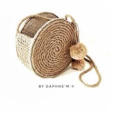 Round <b>straw</b> bag <b>hand woven Handmade</b> in Bali <b>Color</b> lavender ...