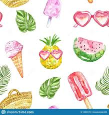 Watercolour <b>summer pattern</b> with fresh fruits, ice cream, sunglasses ...