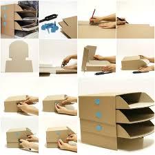 how to make cardboard office desktop storage trays step by step diy tutorial instructions how cardboard office