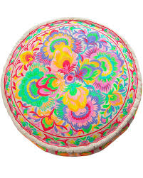 Carnival <b>Embroidered Pouffe</b> – Oklahoma