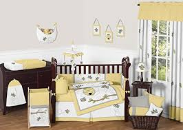 amazoncom sweet jojo designs honey bumble bee hive yellow gray and white unisex 9pc baby girl or boy crib bedding set baby baby nursery cool bee