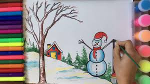 How To Draw And Color <b>Snowman</b> With <b>Winter Scenery</b> - YouTube