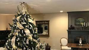 Victorian Christmas Tree In <b>Gold</b>, Smokey Blue, & Cream - <b>Vintage</b> ...