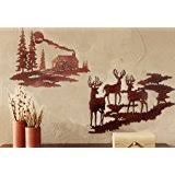 tree scene metal wall art: lake house decor wilderness scene cabin and deer metal wall art with set