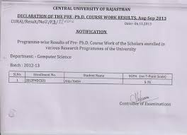 University Election Result Rajasthan Images Guru Ph D Course Work