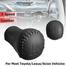 5 Speed Leather <b>Black Stitch</b> Manual <b>Gear</b> Shift Knob Stick Head ...
