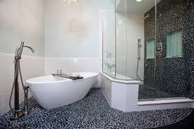photo pebble stone wall bathroom bathtub