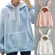 <b>Women</b> Girls <b>Cute Rabbit</b> Ear Hooded Full Hoodie Sweatshirt Sports ...