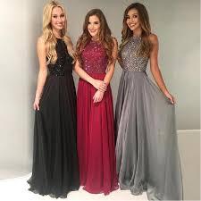 <b>Beautiful</b> Black Red Jewel Top Beaded <b>Chiffon Prom</b> Dresses Floor ...