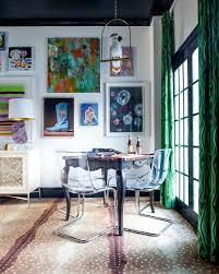 eclectic dining room tables office  wall art and drapes in malachite hue bring color to the small dining