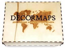 Панно Decormaps <b>Деревянная карта мира</b>, разноцветная ...