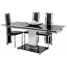 table spectrum black glass extendable  seater black glass dining table with black base