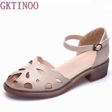 2019 summer sandals female <b>handmade genuine leather women</b> ...