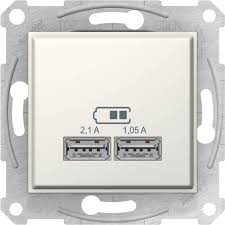 <b>Schneider</b> Electric <b>USB розетка</b> 2.1A бежевая Sedna SDN2710223