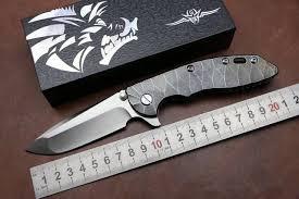 <b>D2 folding knife</b> KESIWO XM18 TC4 titanium handle tactical survival ...