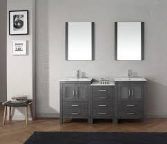 awesome everclean sink with double handle fucet in contemporary mirror and furnished amazing bathroom applying grey amazing contemporary bathroom vanity