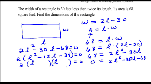 Find the <b>dimensions</b> of the rectangle given that the area is 68 sq feet ...