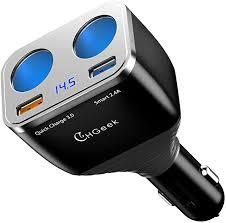 CHGeek Cigarette Lighter Adapter, <b>80W QC3</b>.<b>0</b> Dual Cigarette ...