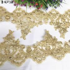 <b>Delicate</b> 2Meters Wedding Dress Cording Lace Applique Gold ...