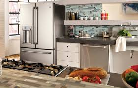 black and stainless kitchen ge cafaca series kitchen with open shelving an apron front sink and stainless