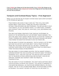 compare contrast essay examples college comparison and contrast essay examples