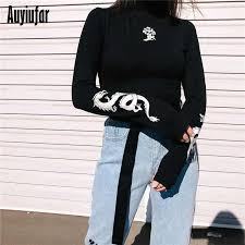 <b>Auyiufar</b> Turtleneck Print Female Short T shirts <b>Fashion</b> Long Sleeve ...