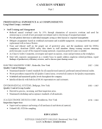 resume examples manufacturing resume examples sample resume for  resume examples manufacturing resume sample professional experience and accomplishments as staff training management and