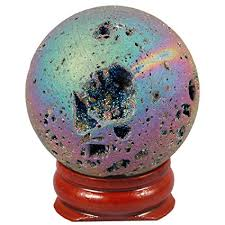 <b>TUMBEELLUWA</b> Druzy Agate Geode Gemstone <b>Titanium Coated</b> ...