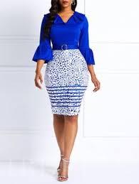 <b>Women Bodycon</b> Midi Dress Blue Print Sexy Elegant Office Ladies ...