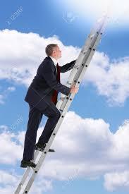 concept photo of a businessman climbing a ladder into the sky concept photo of a businessman climbing a ladder into the sky looking up into the light
