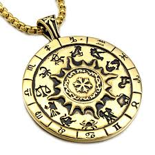 HIP Punk Maya 12 Zodiac Signs Men Necklace Gold Titanium ...