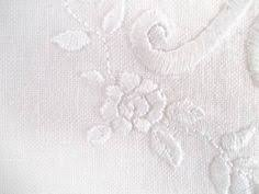 Wedding monogram: F&M hand embroidered with roses on linen 8.8 ...