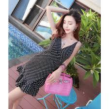 V Neck <b>Polka Dot</b> Irregular Ruffled <b>Sleeveless Women's</b> Dress ₱285 ...