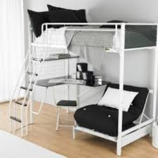 creative black metal bunk beds with red futon couch and cool corner computer bunk bed office