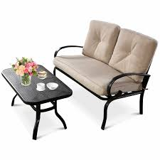 Costway <b>2 Pcs</b> Patio LoveSeat <b>Coffee Table</b> Set Furniture Bench ...
